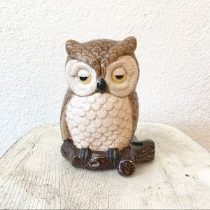 Vintage 80s Owl Figure Statue Ceramic Wall Decor